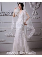 Satin Ivory Sweep Mermaid Zipper V Neck Dropped Sleeveless Applique / Lace Wedding Dress