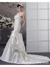 Strapless Satin Mermaid Empire Court Lace Up Applique / Beading / Ruffles Ivory Sleeveless Wedding Dress