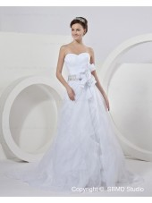 Ivory Sleeveless Zipper A-line Sash / Beading / Hand Made Flower Satin / Organza Natural Strapless Chapel Wedding Dress