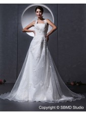Halter Dropped Sleeveless Applique / Beading / Ruffles White Organza Zipper A-line Chapel Wedding Dress