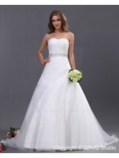 Beading / Ruffles / Beading Sweetheart Ball Gown Ivory Sleeveless Empire Zipper Organza Chapel Wedding Dress