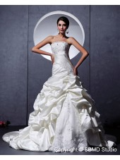 Lace Up Empire Sleeveless Chapel Sweetheart A-Line / Ball Gown Ruffles / Applique / Beading / Lace Satin / Tulle Ivory Wedding Dress
