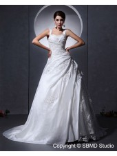 White Chapel A-Line / Ball Gown Zipper Sleeveless Ruffles / Applique / Beading / Lace Taffeta / Tulle Sweetheart Empire Wedding Dress