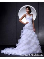 Empire V Neck A-line Sleeveless Ivory Zipper Organza / Lace Cathedral Hand Made Flower / Beading / Ruffles / Beading Wedding Dress