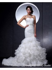 Asymmetrical Sleeveless Ruffles / Beading Sweetheart Satin / Lace Mermaid Zipper Ivory Dropped Wedding Dress