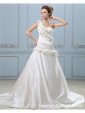 Sleeveless Dropped Court A-line Hand Made Flower / Ruffles One Shoulder Satin Zipper Ivory Wedding Dress