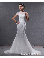 Mermaid Zipper Cap Sleeve Organza Jewel Ivory Court Dropped Applique / Beading Wedding Dress