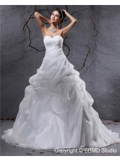 Sleeveless Ivory Empire Sweetheart Pleat / Applique / Beading Organza A-line Zipper Court Wedding Dress