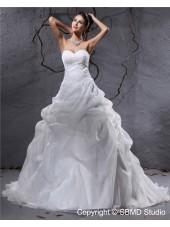 Sleeveless Ivory Empire Sweetheart Pleat / Applique / Beading Organza A-line Zipper Court Wedding Dress