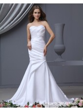 White Dropped Satin Ruffles / Sash Sweetheart Lace Up Mermaid Sweep Sleeveless Wedding Dress