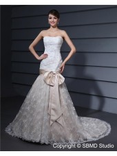 Ivory Sleeveless Strapless Court Mermaid Lace Bowknot / Embroidery / Lace / Beading Zipper Natural Wedding Dress