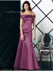 Off-the-shoulder Zipper Mermaid Short-Sleeve Satin Bridesmaid Dress