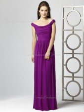 Zipper Off-the-shoulder Draped/Ruffles Floor-length Sheath Bridesmaid Dress