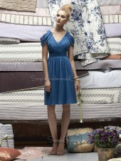 Blue Short-Sleeve A-line Draped/Ruffles Zipper Bridesmaid Dress