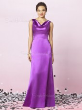 A-line Draped/Ruffles Floor-length Sleeveless Zipper Bridesmaid Dress
