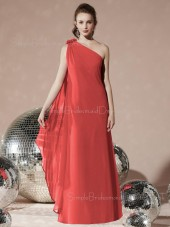 Draped Sleeveless Floor-length Red Natural Bridesmaid Dress