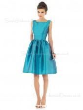 Taffeta Sleeveless Blue Natural Straps Bridesmaid Dress