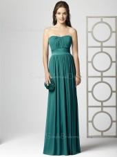Blue Zipper Draped/Ruffles A-line Strapless Bridesmaid Dress
