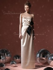 Strapless Natural Bow/Ruffles Elastic-Satin Sheath Bridesmaid Dress
