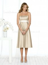 A-line Sash Zipper Champagne Empire Bridesmaid Dress