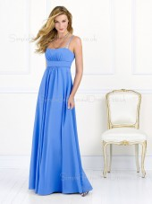 Empire Sleeveless A-line Spaghetti-Straps Light-Sky-Blue Bridesmaid Dress