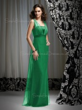 Zipper Chiffon Sleeveless Floor-length Natural Bridesmaid Dress