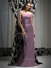Sleeveless Strapless Sheath Natural Elastic-Satin Bridesmaid Dress