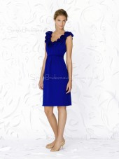 Royal-Blue Sleeveless A-line Chiffon V-neck Bridesmaid Dress