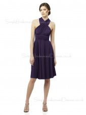 High-Neck Grape Zipper Knee-length Draped/Ruffles/Sash Bridesmaid Dress