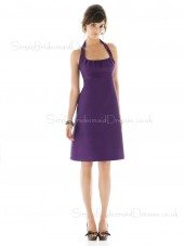 Sleeveless Knee-length Satin Zipper Ruffles Bridesmaid Dress