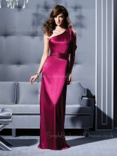 Fuchsia Natural Elastic-Satin One-Shoulder Ruffles/Sash Bridesmaid Dress