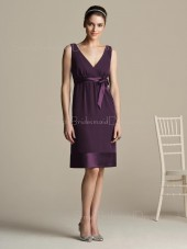 Zipper Natural Charmeuse Bow/Ruffles/Sash Grape Bridesmaid Dress