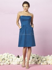 Strapless Ruffles Blue Taffeta Zipper Bridesmaid Dress