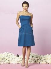 Strapless Ruffles Blue Taffeta Zipper Bridesmaid Dress
