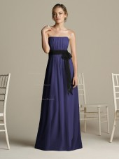 A-line Strapless Royal-Blue Draped/Ruffles/Sash Zipper Bridesmaid Dress