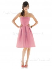 Zipper Knee-length Pink Draped Natural Bridesmaid Dress