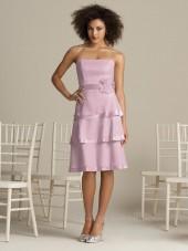 Zipper Chiffon Flowers/Tiered A-line Strapless Bridesmaid Dress