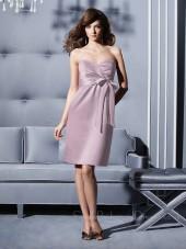 Lavender Chiffon Knee-length Sleeveless Sweetheart Bridesmaid Dress