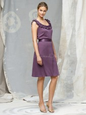 Straps Grape Natural Ruffles/Sash Knee-length Bridesmaid Dress