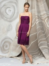 Natural Strapless Draped/Ruffles Sleeveless A-line Bridesmaid Dress