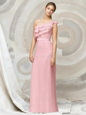 A-line Natural One-Shoulder Ruffles/Tiered Chiffon Bridesmaid Dress