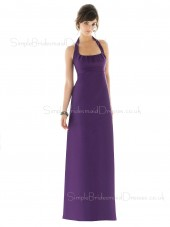 Draped/Ruffles Grape Floor-length Chiffon Empire Bridesmaid Dress