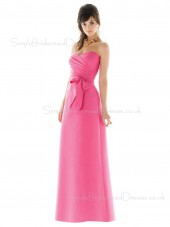 Pink Sleeveless Sweetheart Chiffon Zipper Bridesmaid Dress
