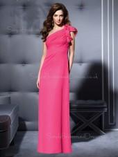 Fuchsia Sheath Sleeveless Floor-length Draped/Flowers/Ruffles Bridesmaid Dress
