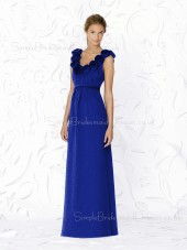 Royal-Blue A-line Straps Zipper Floor-length Bridesmaid Dress