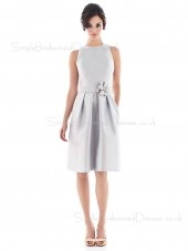Sleeveless Satin Natural White Draped/Flowers/Ruffles/Sash Bridesmaid Dress