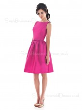 Fuchsia Bateau Knee-length Zipper Draped/Ruffles Bridesmaid Dress