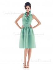 Light-Sky-Blue V-neck Sleeveless Knee-length Ruffles/Sash Bridesmaid Dress