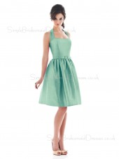 Halter Draped/Ruffles Natural Zipper A-line Bridesmaid Dress
