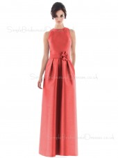Natural Zipper High-Neck A-line Floor-length Bridesmaid Dress